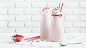 Strawberry milkshake with whipped cream