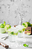 Mojito cocktails with mint leaves and lime slices