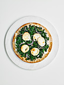 Spinach and goat's cheese pizza