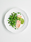Poached trout with watercress salad