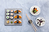 Variations of sushi with algae
