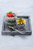 Chia pudding and chia-chlorella pudding with fruit