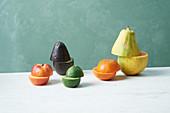 An arrangement of halved fruits