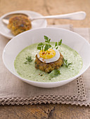 Frothy herb soup with a fritter