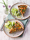 Mushroom and bacon quiche with buckwheat