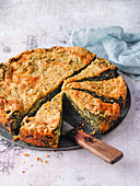 Spinach cake with a cheese crust