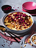 Raspberry, custard and burnt white chocolate pudding
