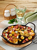 Grilled bacon frittata with mozzarella