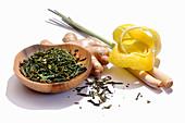 Green tea, ginger, lemongrass and lemon zest