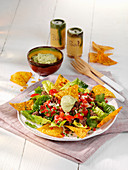 Mexican avocado salad with minced meat and tortilla chips