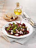 Greek beetroot salad with feta cheese