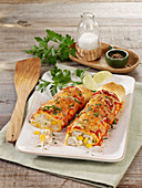 Turkey enchiladas with ricotta and sweetcorn