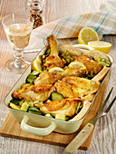 Lemon chicken with braised cucumbers