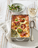 Cheese lasagne with bacon