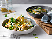 Curried chicken with konjak noodles and bok choy