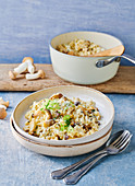 Risotto with king trumpet mushrooms