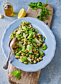 Italian broad bean salad with celery and Parmesan cheese