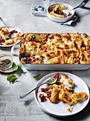 Makkaroni-Lasagne mit Hackfleisch und Käse