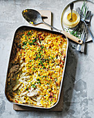 Chicken, chive and creme fraiche mac and cheese