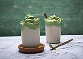 Vegan Dalgona matcha with almond milk
