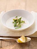 Cream of white asparagus with asparagus tips