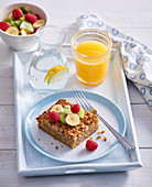 Baked oatmeal slice with fresh fruits