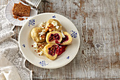 Barley dumpling with cherries, gingerbread and cottage cheese