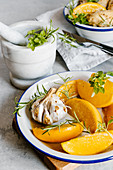 Roast garlic and oranges