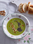 Broccoli soup with almonds and chia seeds