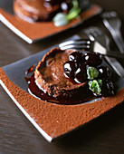 Fondant au chocolat with cherries