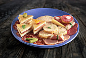 Cold cuts platter with sandwiches