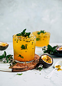 Passion fruit cocktails with mint
