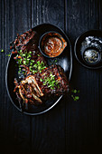Lamb ribs with rhubarb BBQ sauce