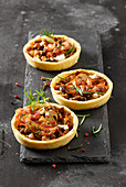 Porcini mushroom tartes with figs and picandou