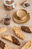 Italian almond cookies cantucci with dark chocolate and coffee