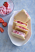 Russian strawberry ice cream sandwiches