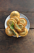 Spinach tirteln (deep-fried pastries from South Tyrol)