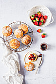 Classic scones with cream and strawberry jam