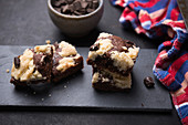 Vegan chocolate vanilla Brookies with dark chocolate pieces
