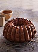 Chocolate sponge cake with caramel icing