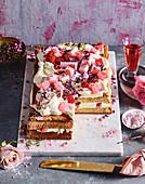 Pistachio, raspberry and rose layer cake