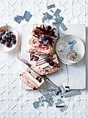 Cherry and vanilla ice cream layer cake