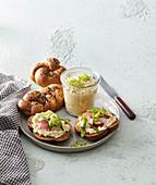 Homemade buns and egg spread