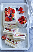 Ice cream brick with fruit and butter cookies