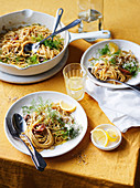 Spaghettini with butter and anchovies