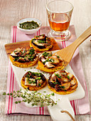 Mushroom and pumpkin crostini