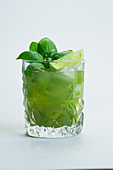 Gin Basil Cocktail with lime