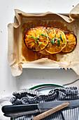 Chicken breast with glazed oranges