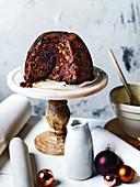 Christmas pudding with salted caramel ganache