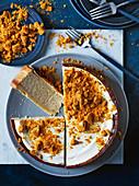 Honey and banana cheesecake with banana honeycomb